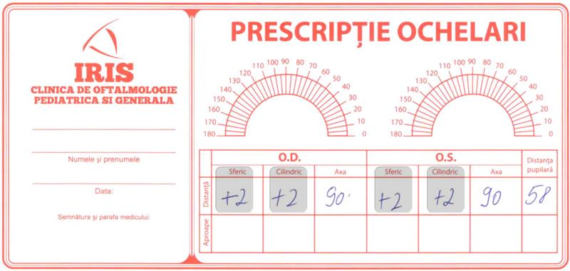 Prescriptie pentru ochelari de vedere cu dioptrii +4 si indice de refractie recomandat de 1.6