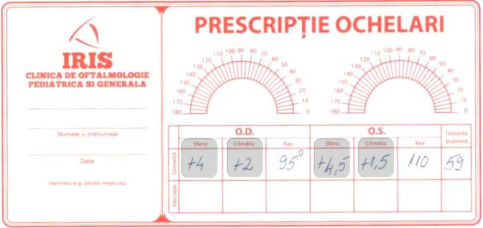 Prescriptie pentru ochelari de vedere cu dioptrii +6 si indice de refractie recomandat de 1.67